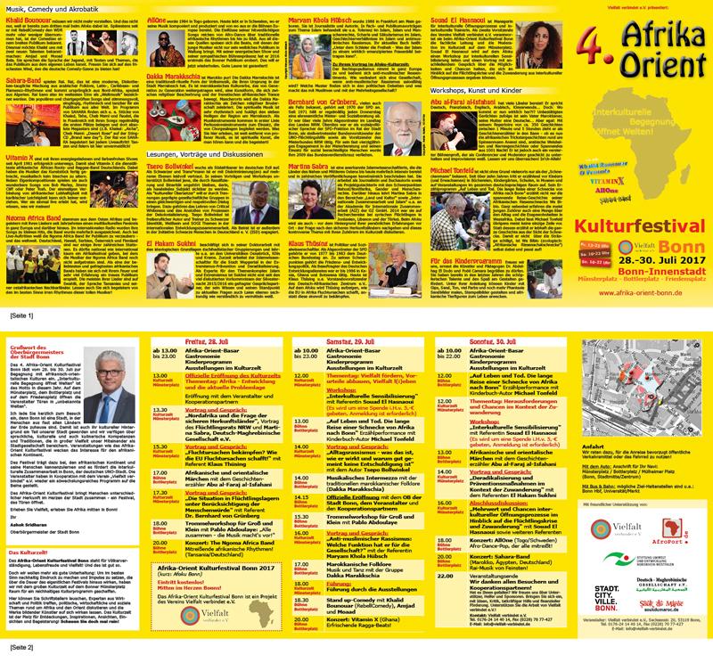 Faltblatt für das 4. Afrika-Orient Kulturfestival Bonn [DIN lang, Zickzackfalz]